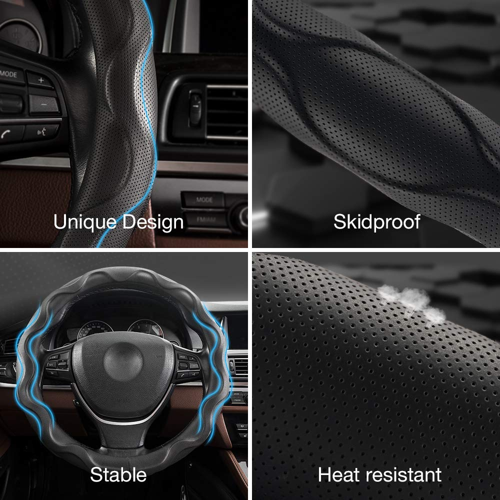 Amazon.com: QUEES Car Steering Wheel Cover Leather Universal ...
