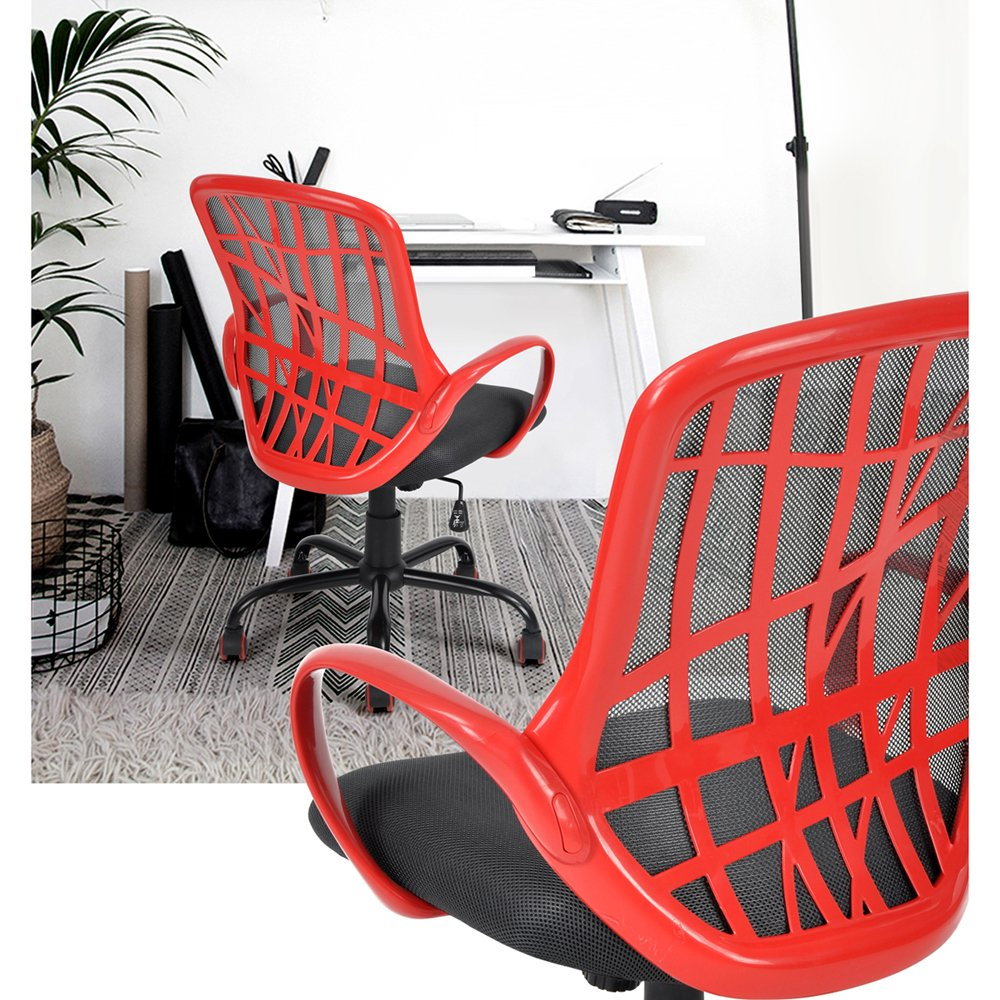 Office Chair High Back Mesh Executive Swivel Chair Adjustable Height Desk Chair for Office Computer Desk Room Studio Workshop, Red