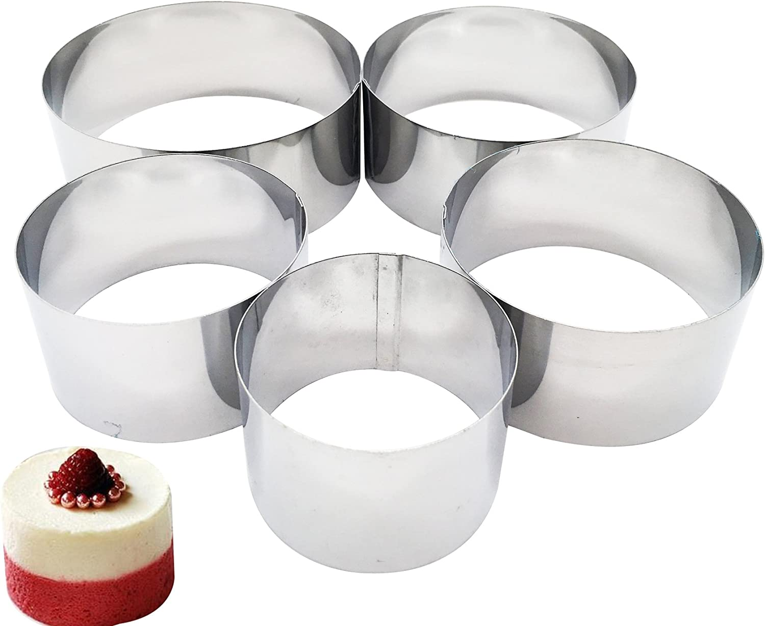 Set of 5 Cooking Rings, Professional Stainless Steel Food Tower Presentation Cooking Rings -Round Forms