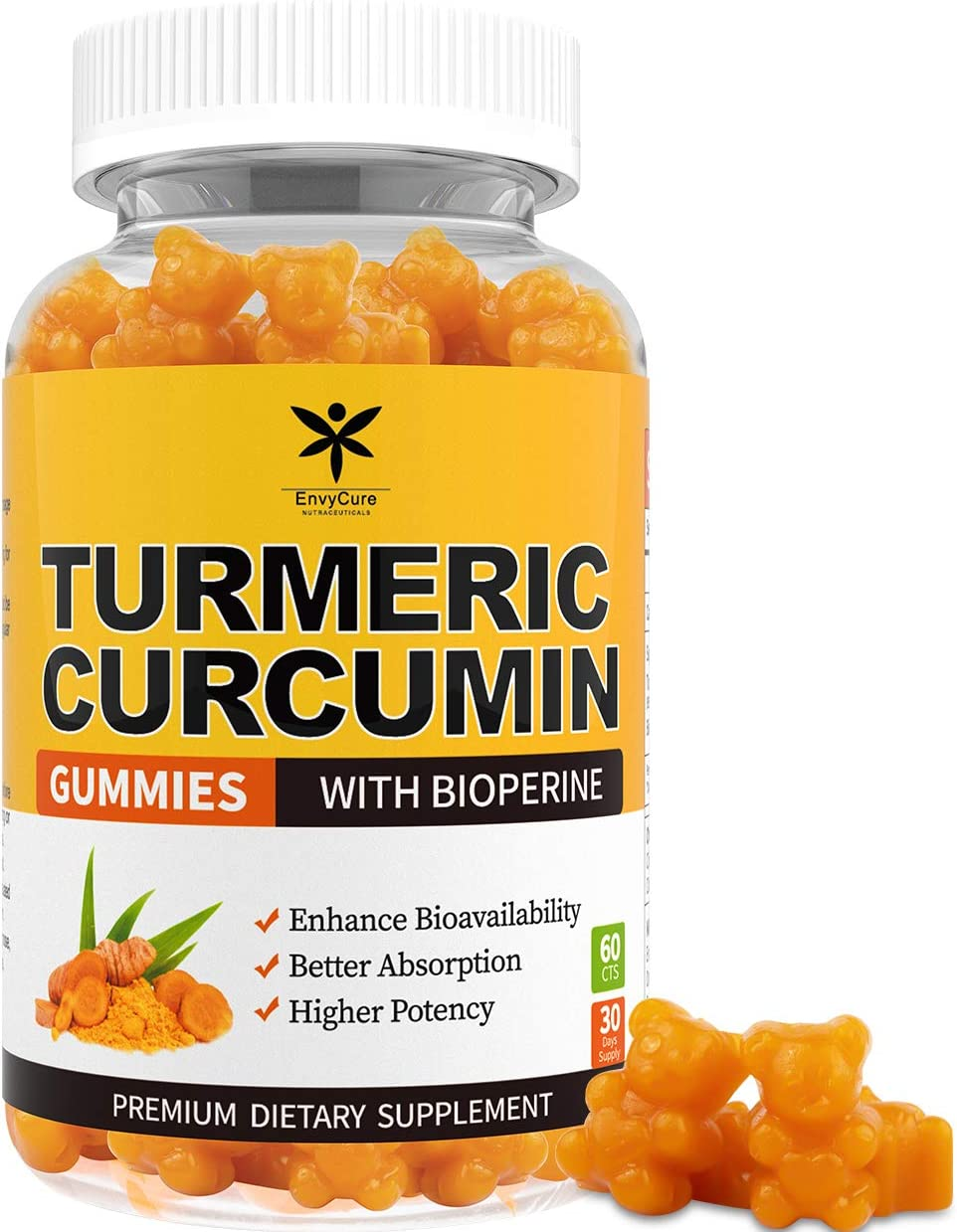 Turmeric Curcumin Gummies with BioPerine for Joint & Inflammation Support, Premium Turmeric Gummies for Adults with 95% Curcuminoids 12000mg, Organic Antioxidant & Anti-inflammatory Supplement