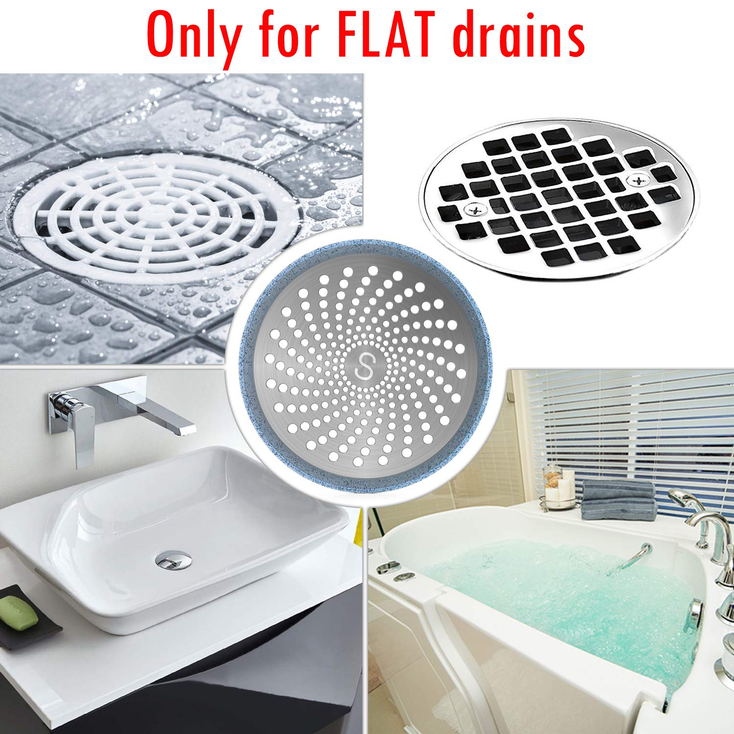 4.7 Inches Stainless Steel and Silicone Shower Stall Drain Protector STAN BOUTIQUE Drain Hair Catcher//Strainer//Trap//Stopper//Cover Blue Only for FLAT drains