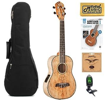 Oscar Schmidt Spalted ukelele Tenor (acústica/eléctrica de mango, ou7te, W/funda, afinador, cuerdas, libro y PC: Amazon.es: Instrumentos musicales
