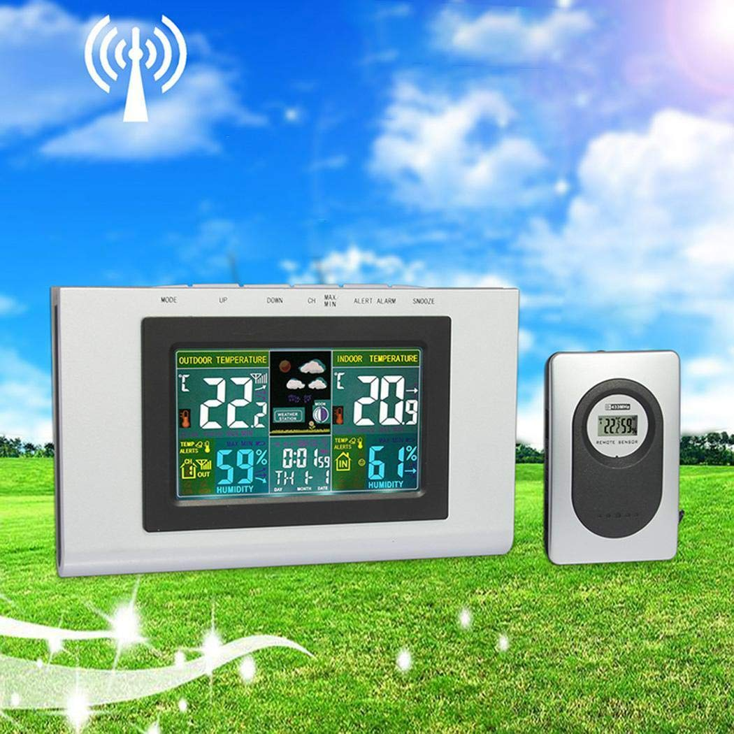 GuGio Wireless Weather Forecast Station, Digital Indoor Outdoor Thermometer,Color Display,Humidity Monitor,Alarm Clock