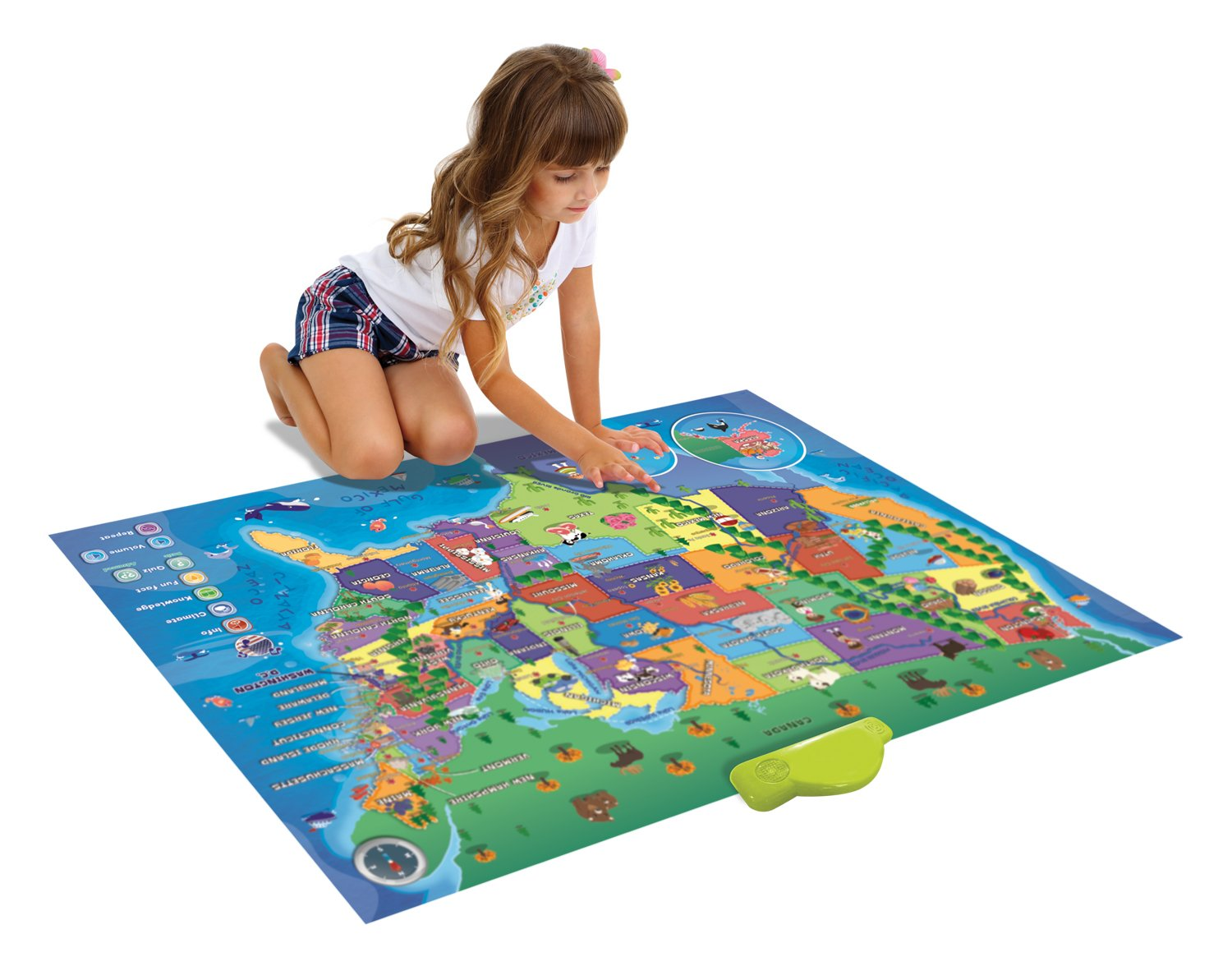 Learn & Climb Electronic Kids Map of the United States - 500 Facts and Quizzes About 50 USA States More Educational than Flash Cards and Map Puzzle Great Floor or Wall World Map for Kids Hours of Fun