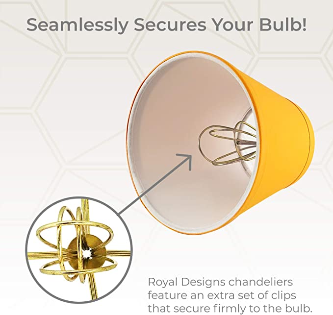 7,6 x 12,7 x 11,4 cm Gelb Royal Designs CS-1003-5YEL-6 Empire Kronleuchter zum Anklippen 6 St/ück
