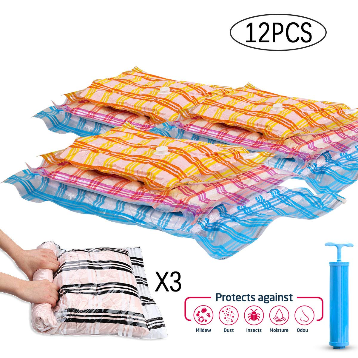 Storage Master 12 Vacuum Storage Bags, Space Saver Bags, 12-Pack (3 Jumbo, 3 Large, 3 Medium, 3 Roll-Up) with Hand Pump (12-Combo)