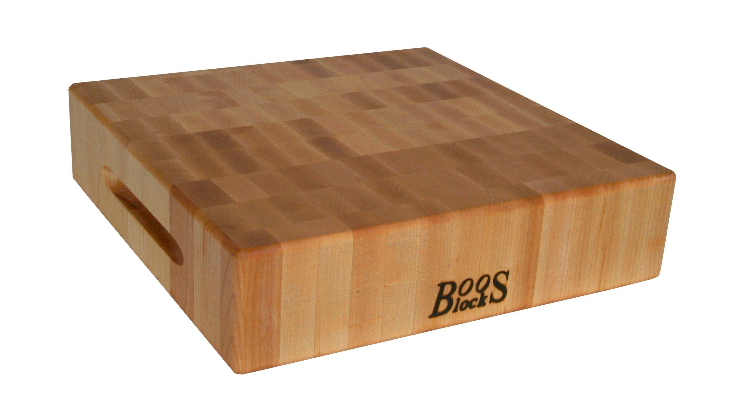John Boos Maple Wood End Grain Reversible Butcher Block Cutting Board, 15'' x 15'' x 3 Inches