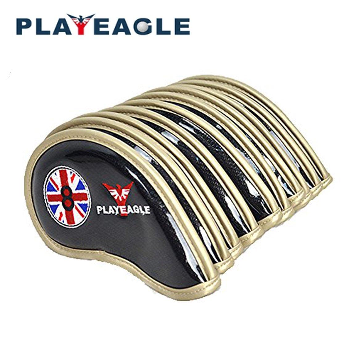 熱販売 playeagle 10個/セット厚さPUレザーゴルフヘッドカバー防水Easy playeagle Cleanアイアンヘッドカバーwithパターン ブラック B07893SS7C ブラック B07893SS7C, 美しく暮らす C.D.F:08d19e37 --- a0267596.xsph.ru