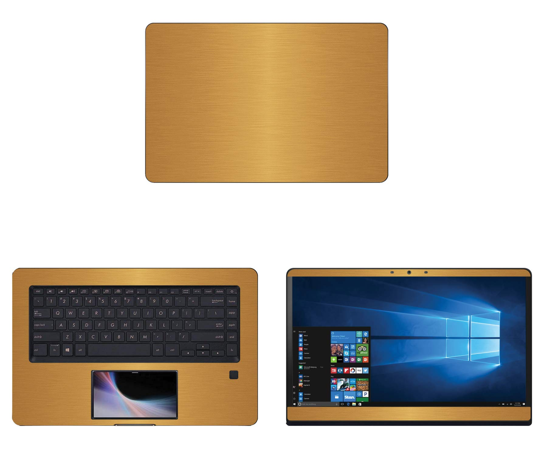 decalrus - Protective Decal for Asus ZenBook Pro UX580GD (15.6'' Screen) Laptop Gold Texture Brushed Aluminum Skin case Cover wrap BAasusZenbkPro15_UX580Gold