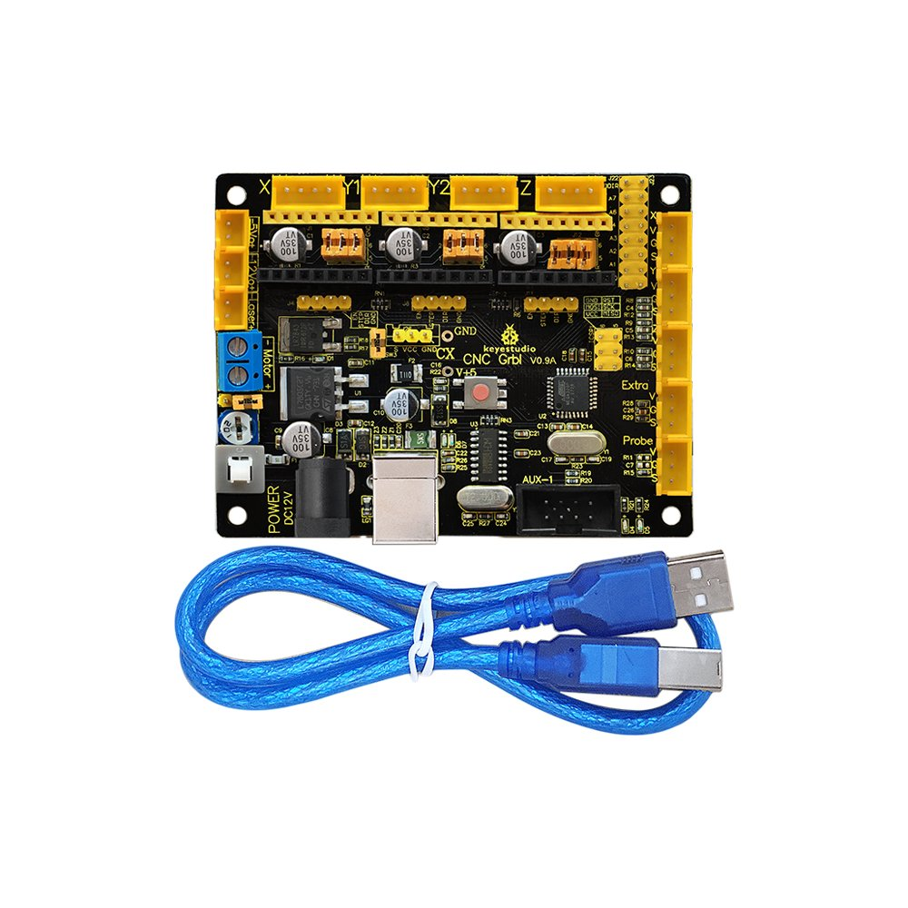 keyestudio Grbl CNC Controller Board with USB Cable, DIY CNC Grbl V0.9 Microcontroller for Laser Cutters, Automatic Hand Writers, Hole Drillers, Graffiti Painters and Oddball Drawing Machines