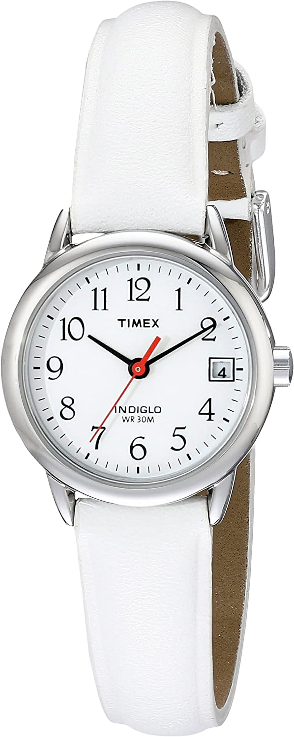 Timex Women s T2H391 Indiglo Leather Strap Watch, White Silver-Tone