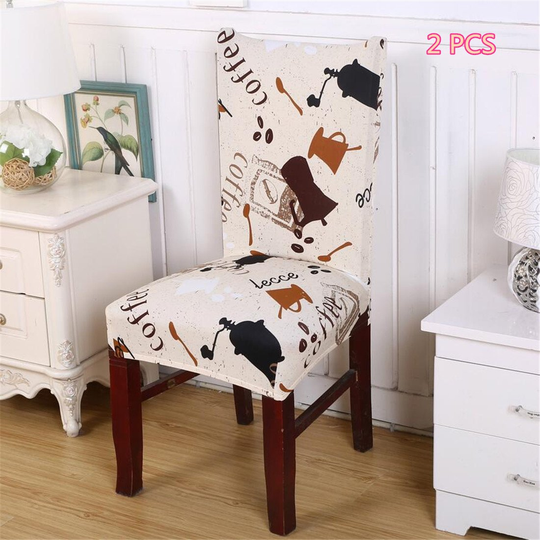 2PCS/4PCS Dining Room Stretch Printed Chair Cover Spandex Lycra Universal Protector Slipcovers Wedding Banquet Party Decor … (2, 10) PASSIONS