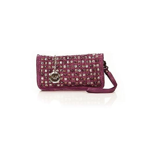 Musa - Bolso de mano en cuero genuino vintage, tejido a mano con tachuelas decorativas, efecto vintage - 23x14x3 cm: Amazon.es: Zapatos y complementos