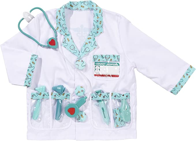 Melissa Doug Doctor Costume Deluxe Role Play Set With Medical Play Set Bundle