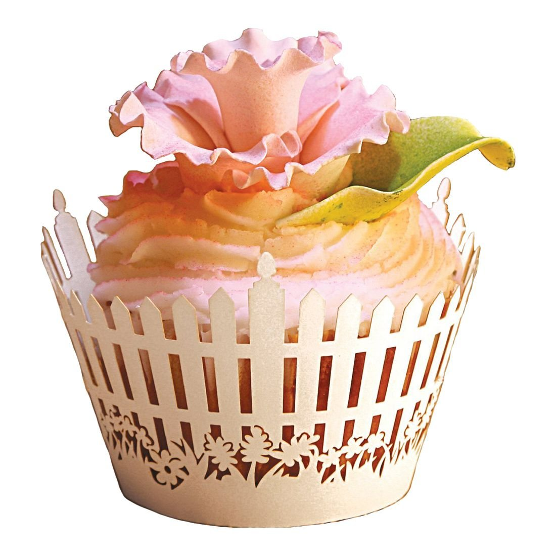 SODIAL 60 x New Romantic Garden fence Cupcake wrapper, party wedding/birthday decoration cupcake paper box