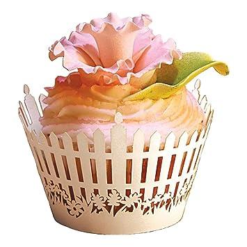 SODIAL (R) 60 x Nuevo romántico jardín valla envoltorios para cupcakes, fiesta, boda/decoración de cumpleaños Cupcake caja de papel: Amazon.es: Hogar