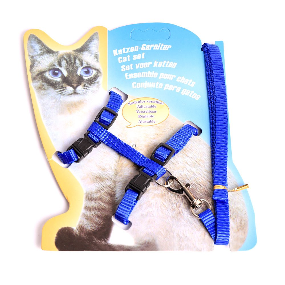 bluee Alemard Cat Harness, Adjustable Cat Harness Nylon Strap Collar with Leash Safety Rope Leads, bluee