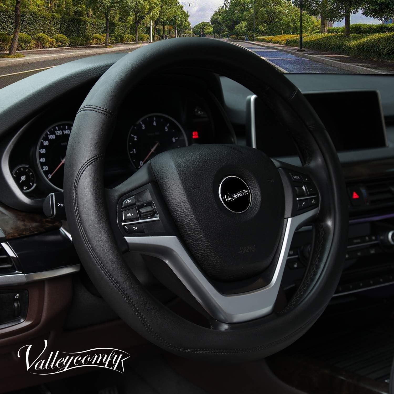 shop amazon com steering wheel coversvalleycomfy microfiber leather steering wheel covers universal 15 inch (black)