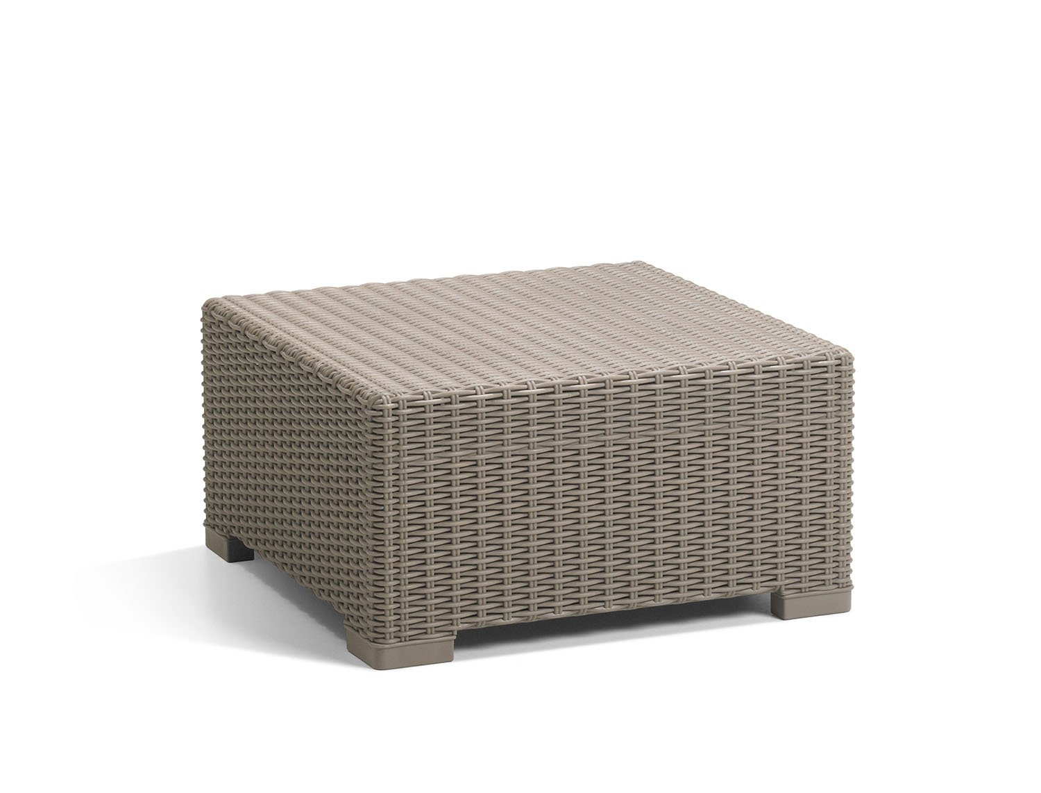 Keter California All-Weather Outdoor Patio Coffee Table in a Resin Plastic Wicker Pattern, Cappuccino