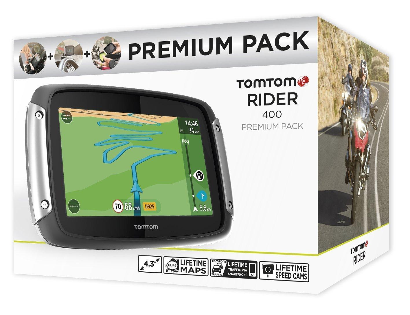 Display, kurvenreiche Strecke, Lifetime TomTom Traffic 10,9 cm TomTom Rider 400 Premium Pack Motorradnavigationsger/ät schwarz 4,3 Zoll