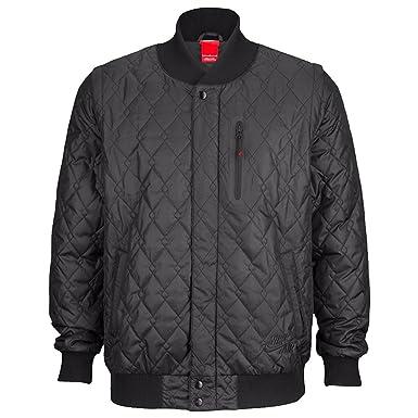 cc7e19f3f06c Nike Air Mens Varsity Quilted Jacket Zip Off Sleeves Black - Black -   Amazon.co.uk  Clothing