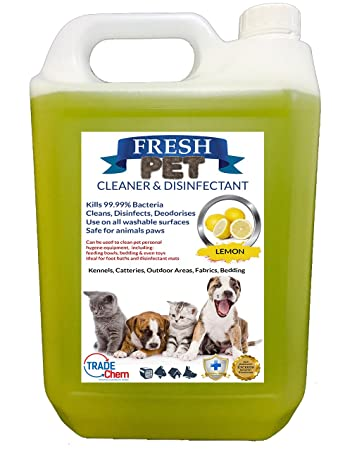 Trade Chemicals Fresh Pet Kennel/Cattery Cleaner & Disinfectant - Kills  99 99% Bacteria - Eliminates Odour (Lemon Fresh)