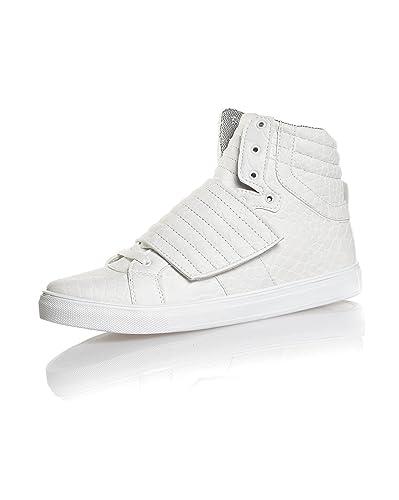 acbef94fddb BLZ jeans - Basket homme scratch blanche montante fashion - couleur  Blanc  - taille