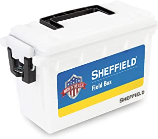product image for Sheffield 12634 Field Box, Pistol, Rifle, or Shotgun Ammo Storage Box, Tamper-Proof Locking Ammo Can, Water Resistant, Made in The U.S.A, Stackable, White