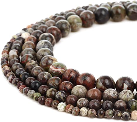RUBYCA Natural Ocean Jasper Gemstone Round Loose Beads Jewelry Making 4mm 10mm