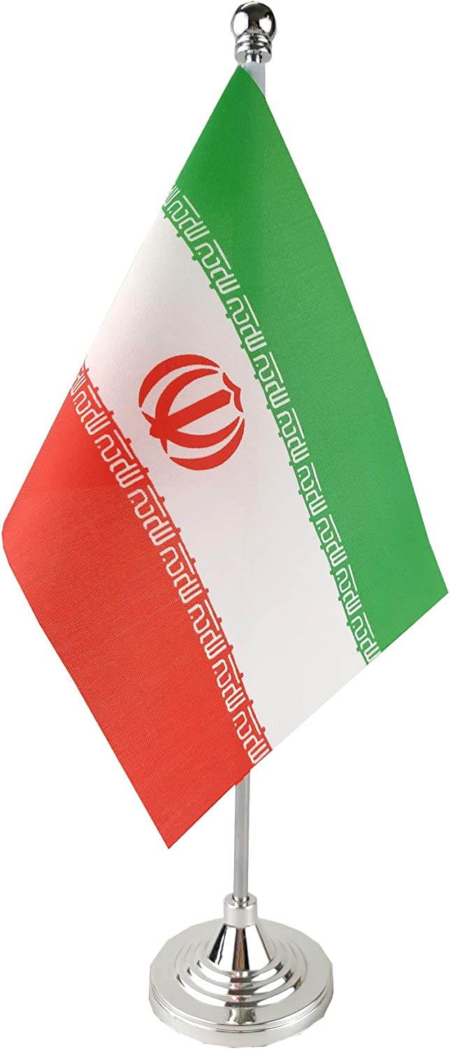 GentleGirl.USA Iran Table Flag, Stick Small Mini Iranian Flag Office Table Flag on Stand with Stand Base, International Festival Decoration,Irans Theme Party Decoration,Home Desk Decoration