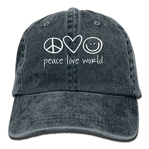 7ce552c93e7505 ONE-HEART HR Peace Love World Baseball Caps Denim Hats For Men Women at  Amazon Men's Clothing store: