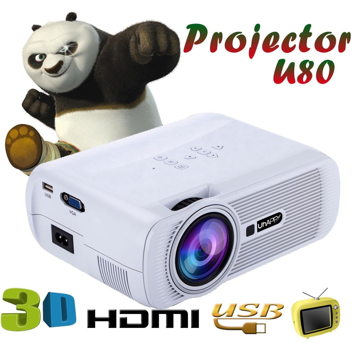 UHAPPY LED high-definition portable mini projector 3D 1000 lumens support 20000 hours LED life , white
