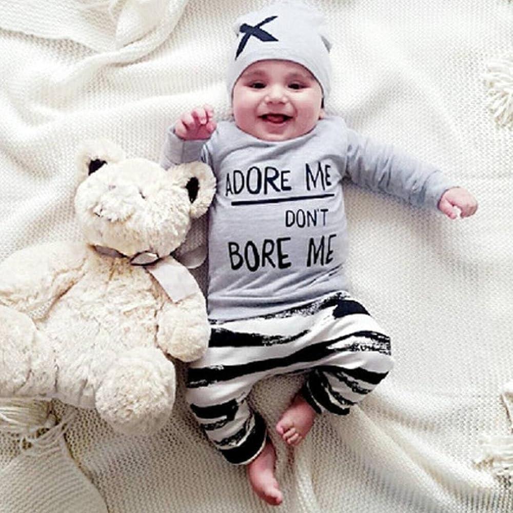Conjunto Ropa Bebé, Bebés niña niño recién Nacidos Camisetas de Manga Larga + Pantalones + Sombrero Otoño Invierno Ropa 3 Mes - 2 Años (Tamaño:3-6Mes, Gris): Amazon.es: Ropa y accesorios