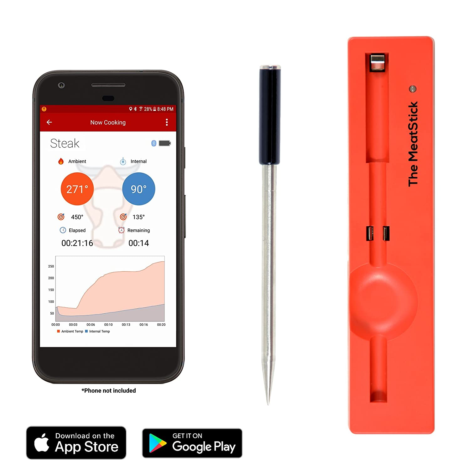 The MeatStick True Wireless Meat Thermometer for BBQ, Grill, Oven, Smoker, Sous Vide Cook Perfect Meat via Bluetooth for iOS and Android