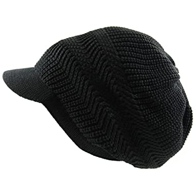 64b289eced4 RW Knitted Cotton Rasta Slouchy Beanie Visor (Black) at Amazon ...