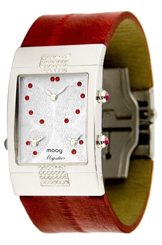 Moog Paris - Papillon - Damen Armbanduhr - weiß Ziffernblatt - Armband Rot aus Kalbsleder - - in Frankreich hergestellt -
