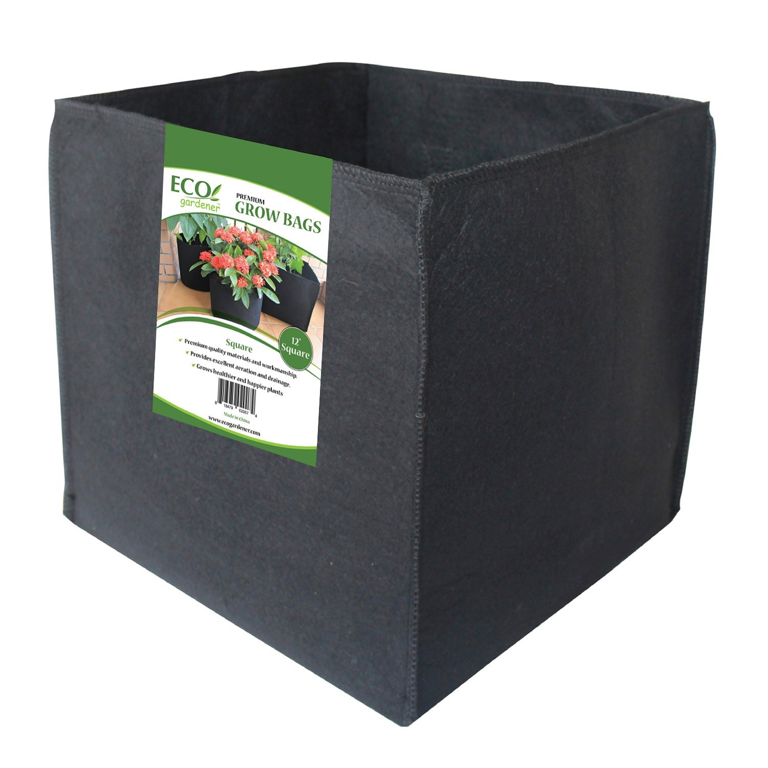 ECOgardener Grow Bags Square Foot Planter Raised Bed Fabric Pot - 12'' Square 7 Gallon 4Pk by ECOgardener