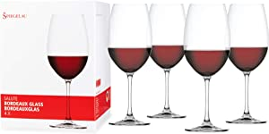 Spiegelau Salute Bordeaux Wine Glasses - (Clear Crystal, Set of 4 Red Wine Glasses)