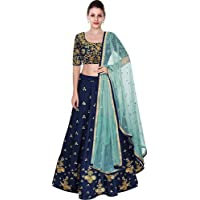Pd Cloth Villa Women's Silk Semi-Stitched Lehenga Choli (Blue_Free Size)
