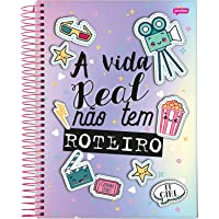 Caderno de 10 Matérias Capa Dura, Jandaia 59358, Multicor, 4 unidades