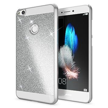 NALIA Funda Carcasa Compatible con Huawei P8 Lite 2017, Protectora Movil Purpurina Cubierta Dura Delgado Glitter Hard-Case, Telefono Bumper ...