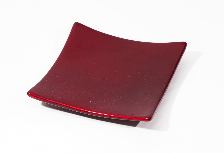 Portavela de cerámica esmaltada de forma cuadrada Rojo. Kerzenfarm