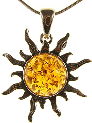 BALTIC AMBER STERLING SILVER 925 LADYBIRD PENDANT NECKLACE CHAIN JEWELLERY GIFT