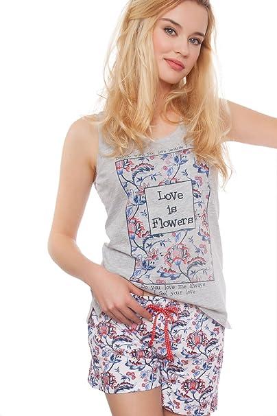 Admas - Pijama Para Mujer Flores, Color: Gris Jaspe, Talla: M