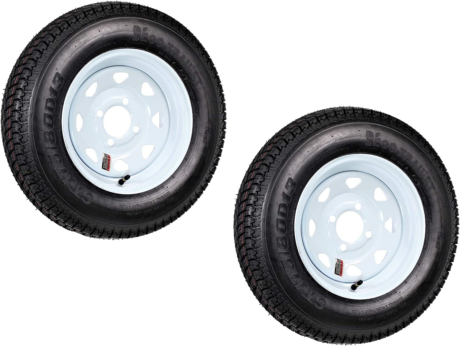 2-Pk Trailer Tire Rim ST175/80D13 13 in. Load C 4 Lug White Spoke Wheel