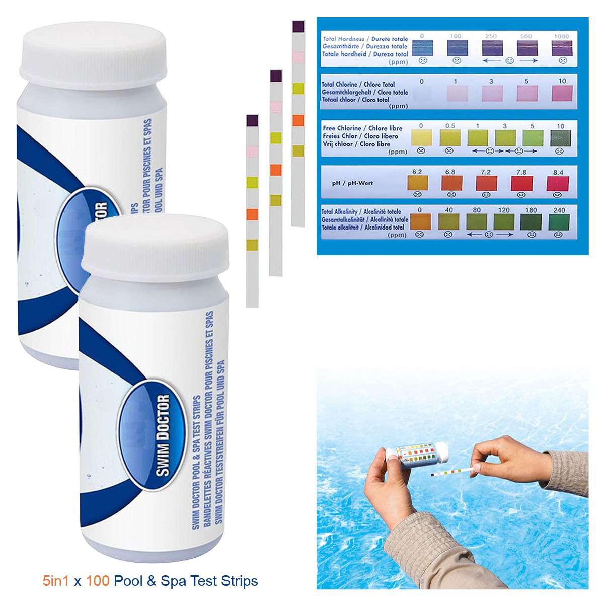 3in1 / 5in1 Bestway Test Strips for Lay Z Spa Pool Hot Tub PH Alkalinity & Chlorine Test Pack Contains 100/200 Strips by Crystals® (100x5in1TestStrips)