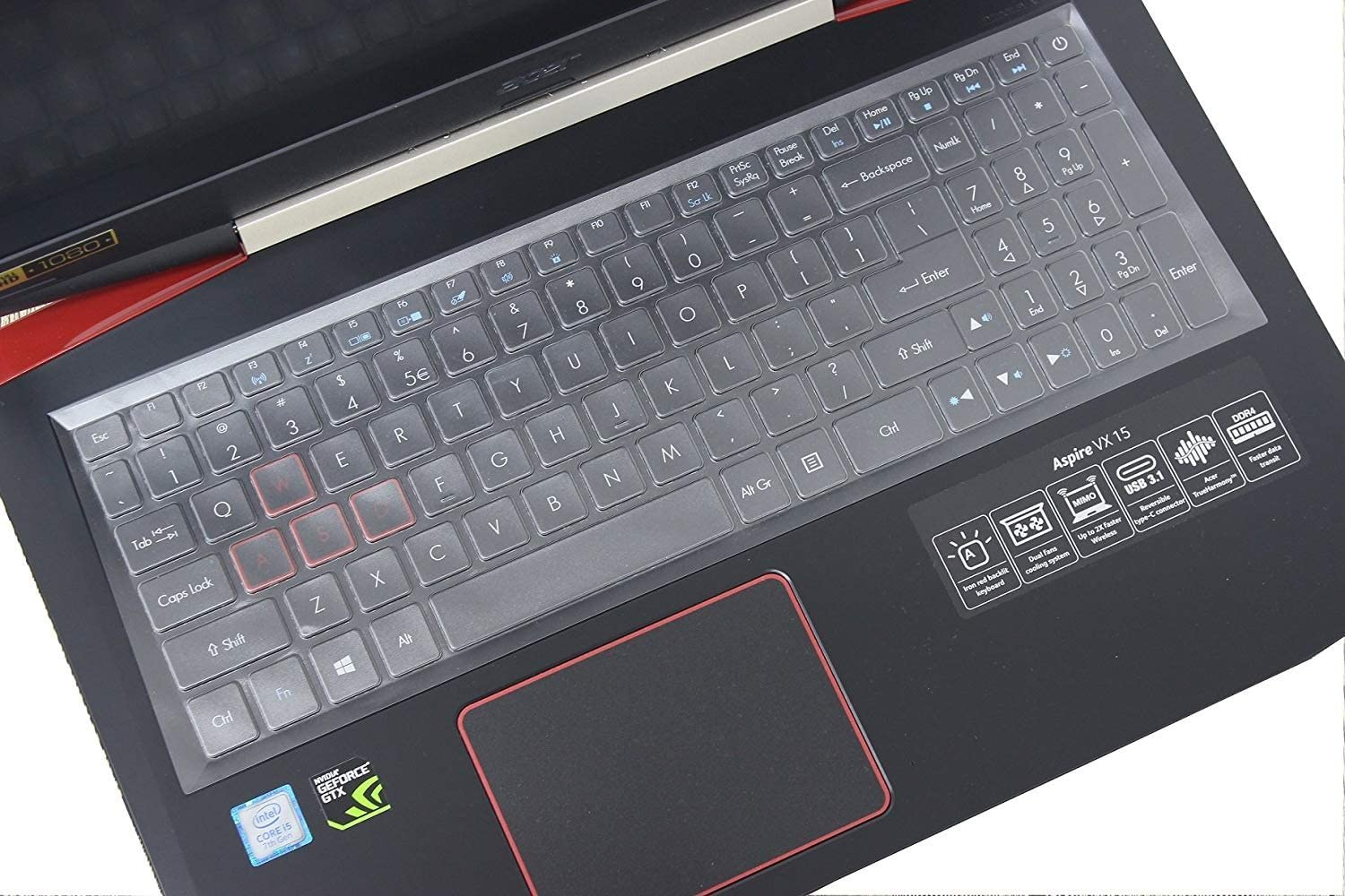 "TPU Leze Ultra Thin Keyboard Skin Cover Compatible with 15.6/""Acer Nitro 5 AN515 Full HD Gaming Laptop"