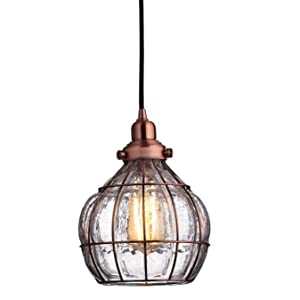 YOBO Lighting Vintage Cracked Glass Rustic Wire Ceiling Pendant Light, Red Antique Copper