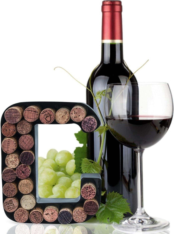 "Made Easy Kit Wine Cork Holder Decorative Metal Monogram Letter for Wine Corks - Easy Mount kit Included (Letter C, 7"" x 5.5"" x 2"")"
