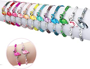 Elesa Miracle 12pc Women Girl Flamingo Woven Friendship Crystal Bead Bracelet Value Set Kids Party Favor Adjustable Bracelet